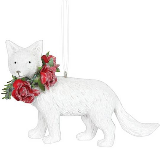 Resin White Fox with Red Roses