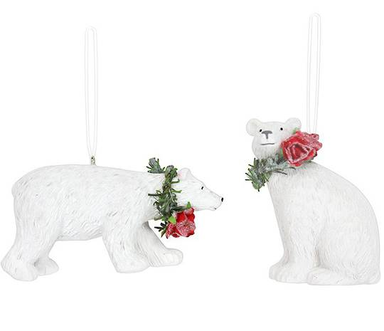 Resin White Polar Bear with Red Roses