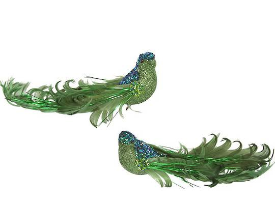 Clip, Green Glitter & Curly Feather Bird