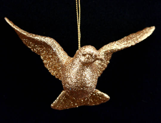 Resin Gold Flying 3D Dove 8cm