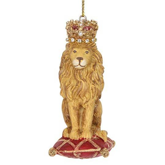 Resin Lion with Crown on Cushion