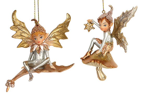 Resin Magical Pixie on Leaf 11cm