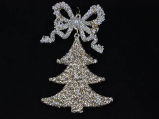 Hanging Antique Gold Glitter Tree w/ Bow 13cm