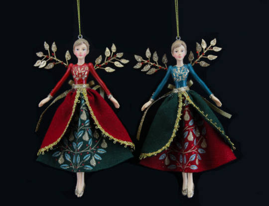 Hanging Resin/Fabric Partridge Fairy 15cm
