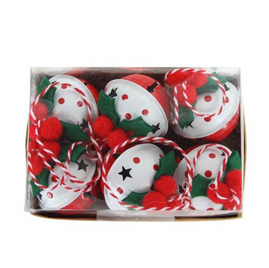 Tin Jingle Bell, Red and White with Felt Holly, Pack 6