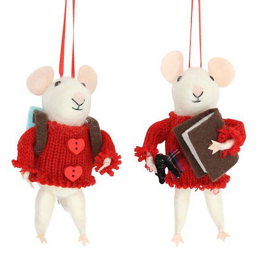 Eco Wool White Mouse with Red Wooly Sweater