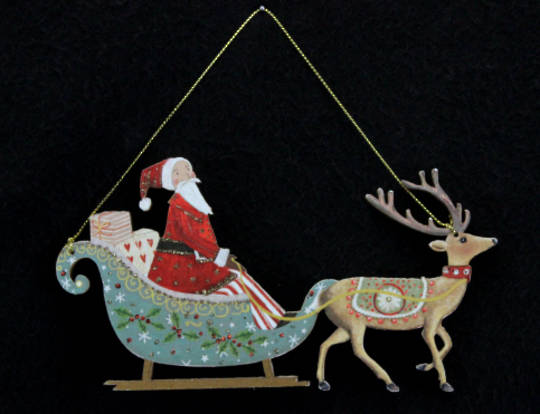 Hanging Wooden Old Time Santa in Sleigh with Reindeer