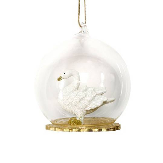 Glass Ball with Resin Swan Inside