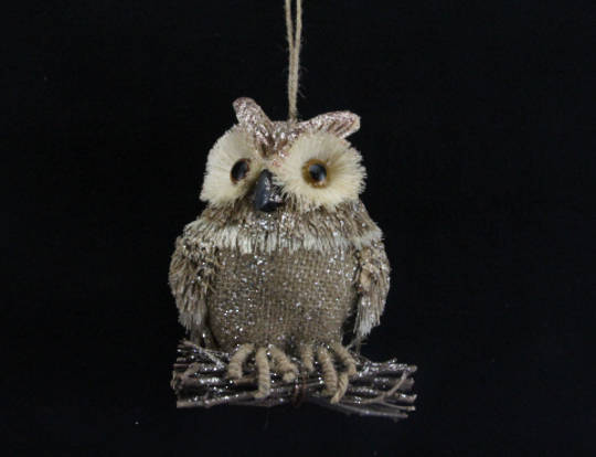 Twig, Bristle & Hessian Owl Pearched on Twigs 14cm