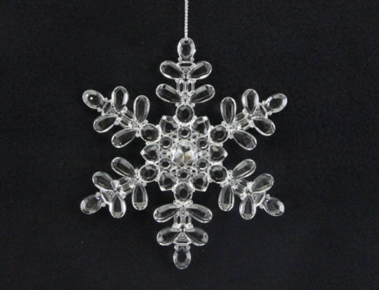 Hanging Clear Acrylic Snowflake 13cm