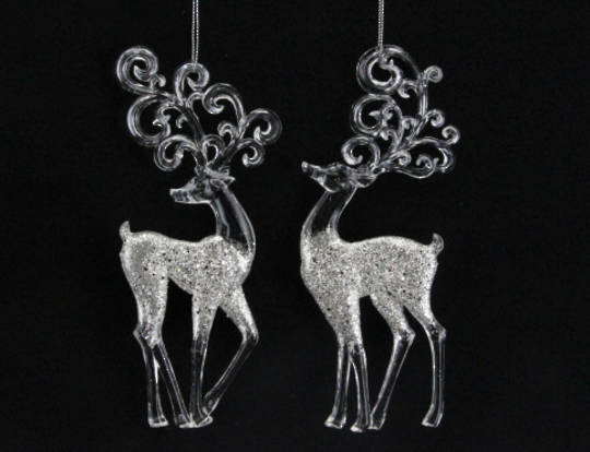 Clear Acrylic and Silver Glitter Reindeer