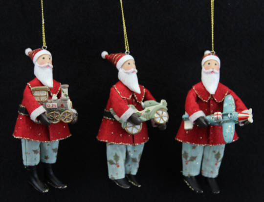 Hanging Fabric and Resin Nostalgic Santa with Toys