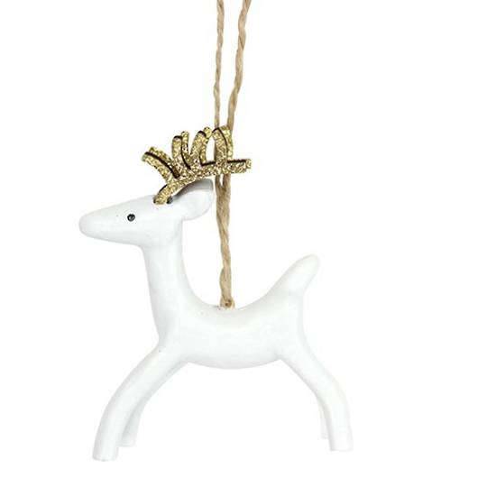 Resin White Deer with Gold Antlers