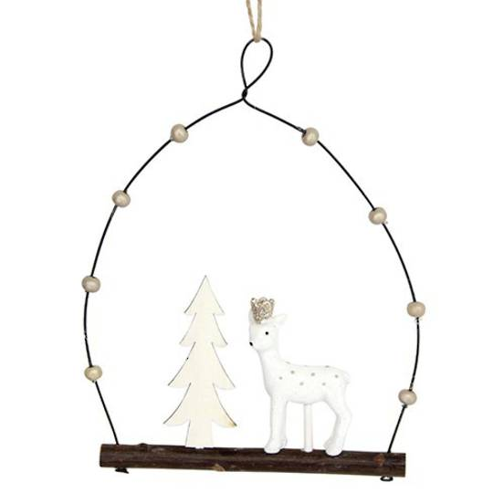 Resin White Deer and Tree in Wire Loop