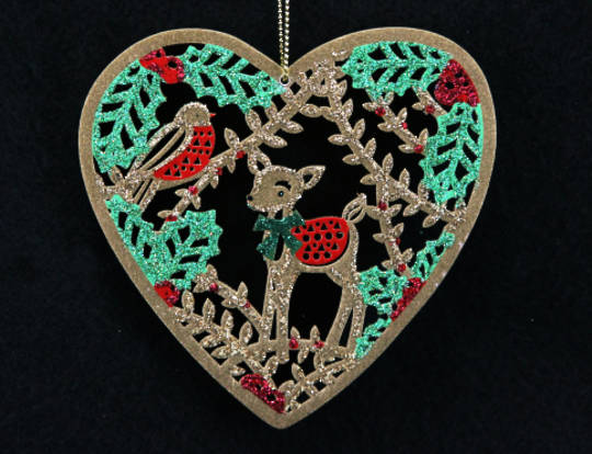 Hanging Wooden Fretwork Heart with Deer and Robin