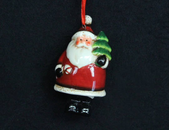 Hanging Ceramic Santa with Tree