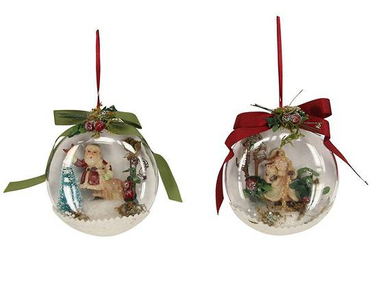 Hanging Vintage Santa in Acrylic Disc with Ribbon
