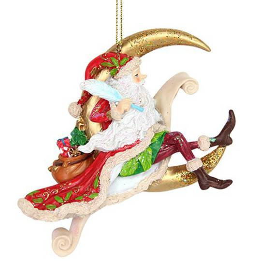Resin Flying Santa and Crescent Moon