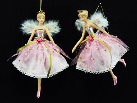 Hanging Resin Pink Fabric Fairy Lge