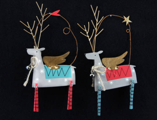 Tin Scandinavian Reindeer with Wings