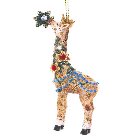 Resin Giraffe with Flower 11cm