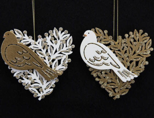 Wooden Cream/ Gold Fretwork Dove in Heart