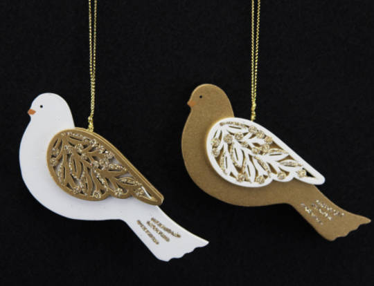 Wooden Cream/Gold Fretwork Dove