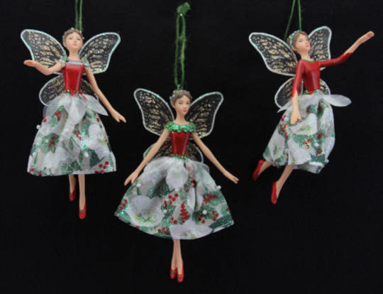 Hanging Resin  Xmas Rose Fabric Fairy Lge