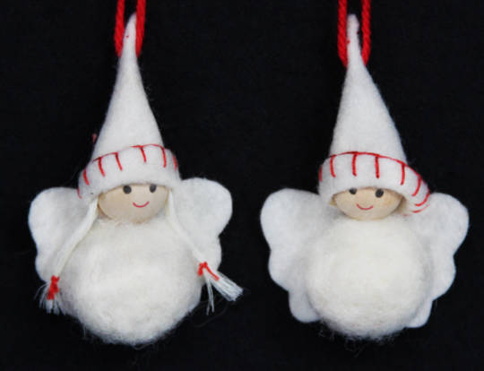Hanging White Wool Angels