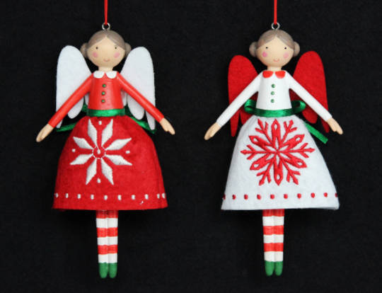 Hanging Resin and Fabric Scandi Snowflake Fairy