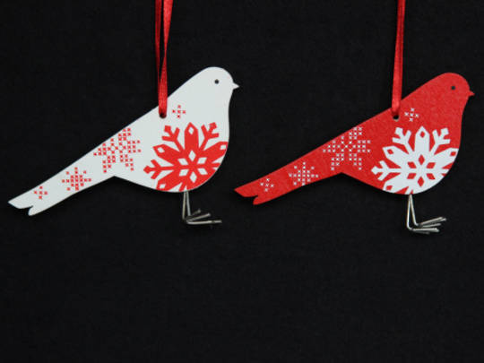 Hanging Wooden Red/White Bird w/ Snowflake
