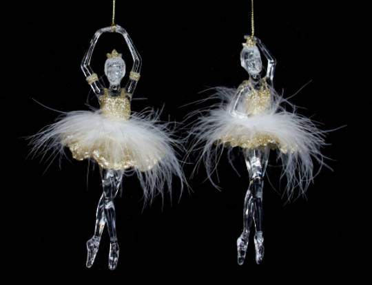 Acrylic Clear & Gold Ballerina with Feathers