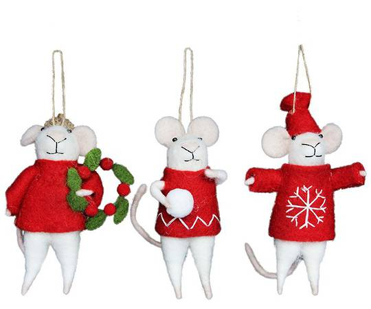 Eco Wool Red and White Mice