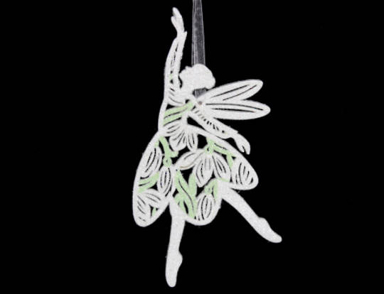 Wood Fretwork Fairy with Snowdrop Pattern