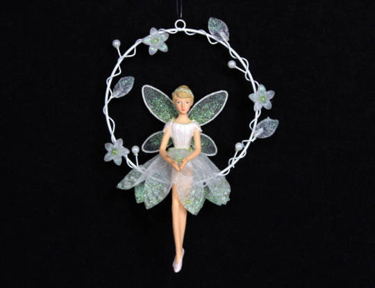 Hanging Resin Snowdrop Fairy in Wire Ring