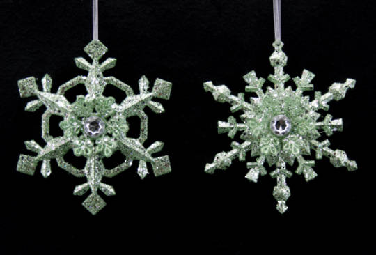 Hanging Acrylic Pale Green Glitter and Diamante Snowflake