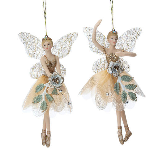 Cream Gold Leaf Rose Peace Fairy 15cm