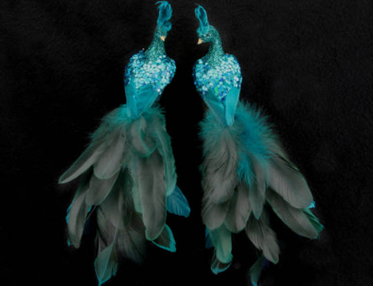Peacock Turquoise Glitter/Acrylic and Feathers