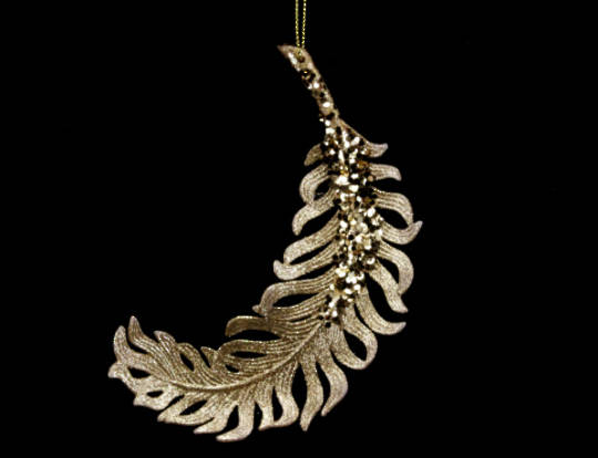 Hanging Gold Glitter Feather
