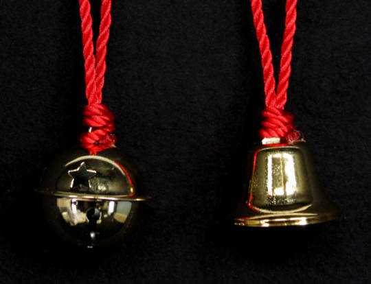 Hanging Gold Metal Bell with Red Cord