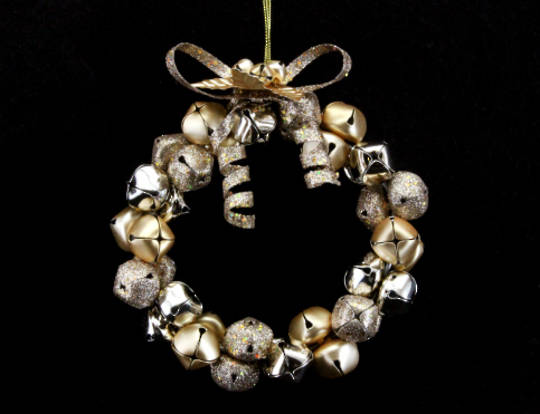 Hanging Gold Metal Jingle Bell Wreath