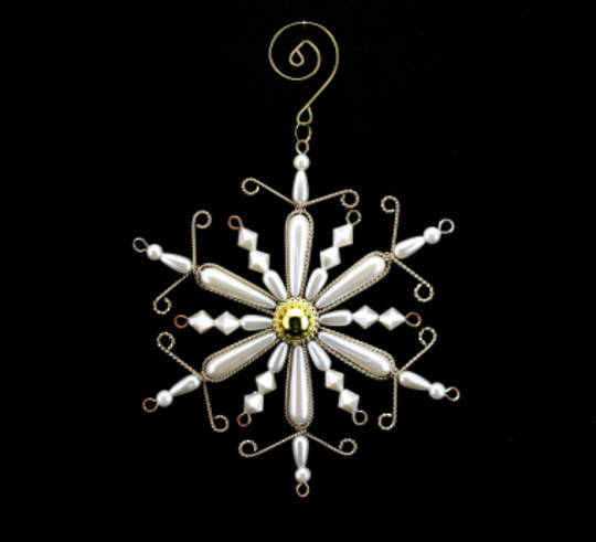 Wire and Pearl Snowflake 12cm