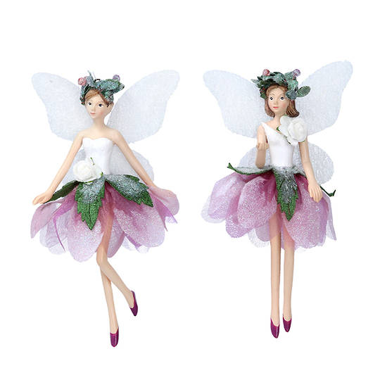 Resin Plum Fabric Flower Fairy 14cm SOLD OUT