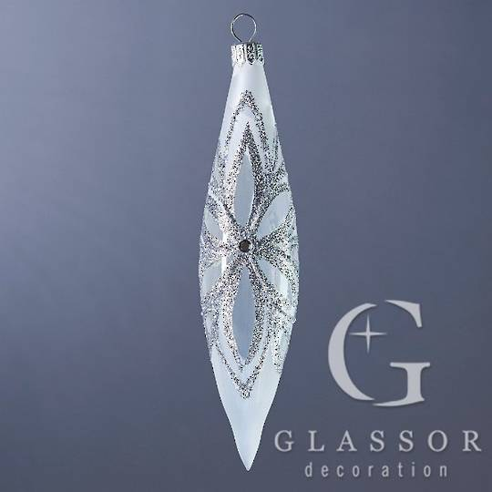 Glass Drop Transparent White with Silver Ice Effect Decor 16cm