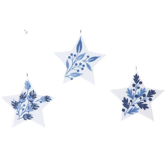 Ceramic White Blue Star 7cm