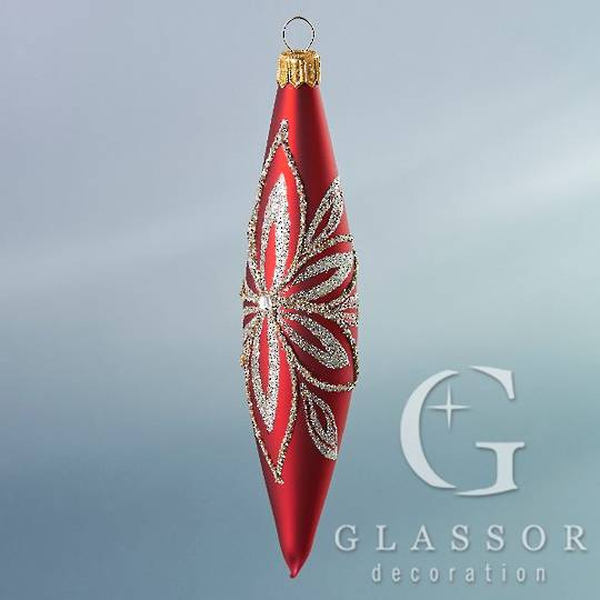 Glass Olive Red with Platinum Decor 16cm