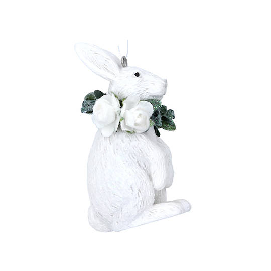 Hanging Resin White Flower Rabbit 7cm