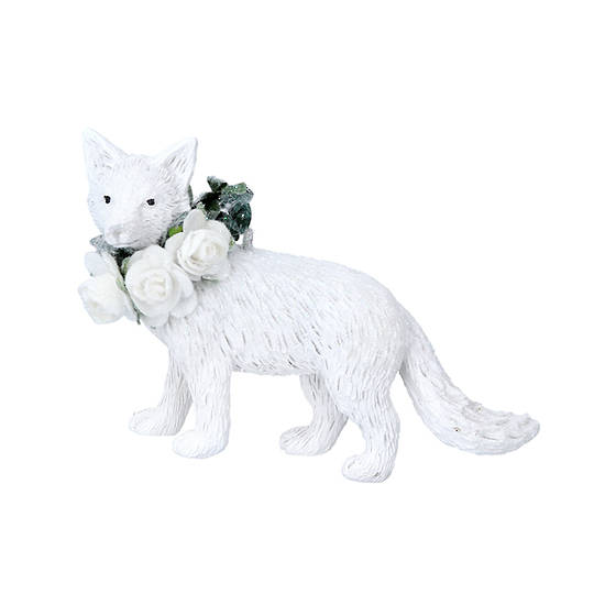 Hanging Resin White Flower Fox 9cm