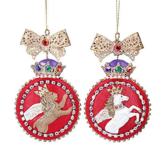 Hanging Resin Glorious Lion/Unicorn Disc 9cm