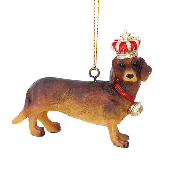 Hanging Resin Dashshund with Crown 7cm SOLD OUT